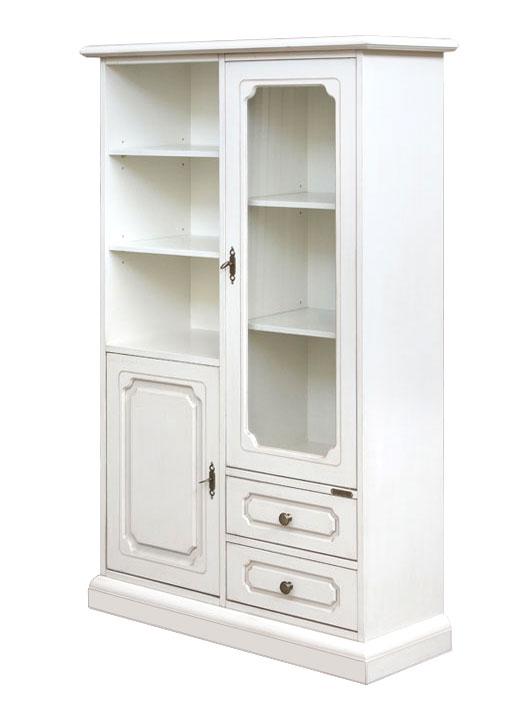 Petite vitrine combinée 2 portes 2 tiroirs