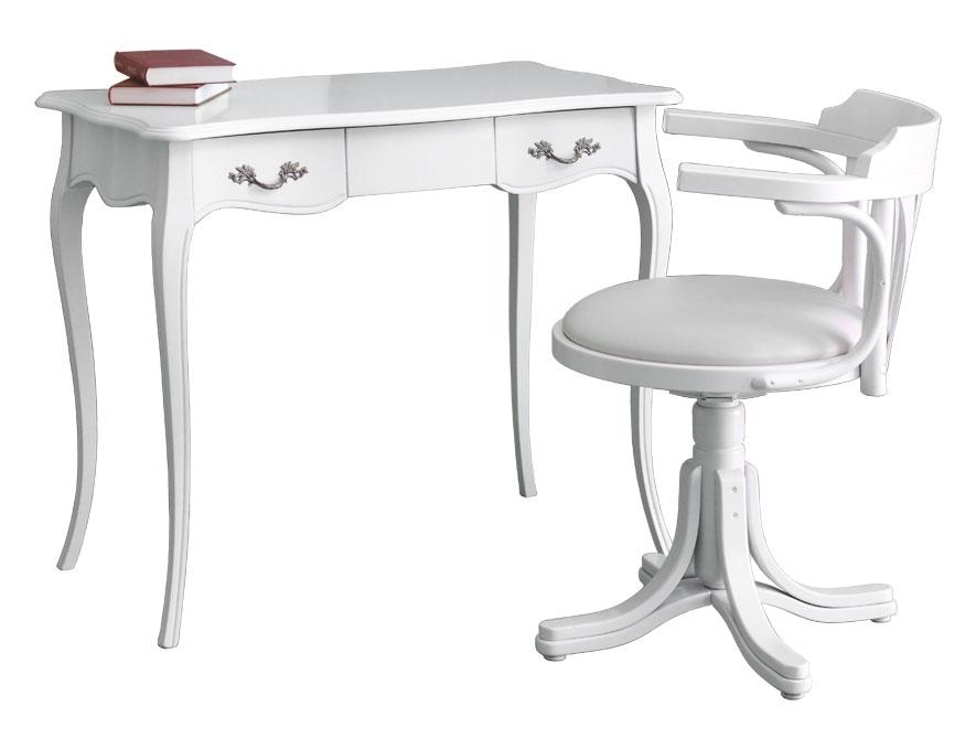 Büro-Set weiß: Schreibtisch mit Drehstuhl