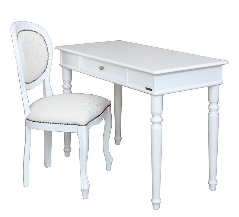 Ensemble bureau + chaise laquée blanc