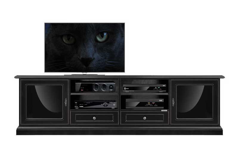 TV-Lowboard schwarz 2 m klassisch
