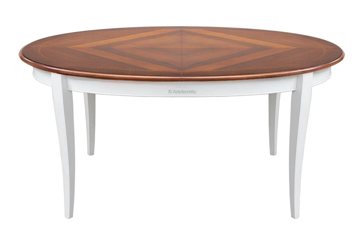 Intarsien Esstisch zweifarbig Breite 160 cm