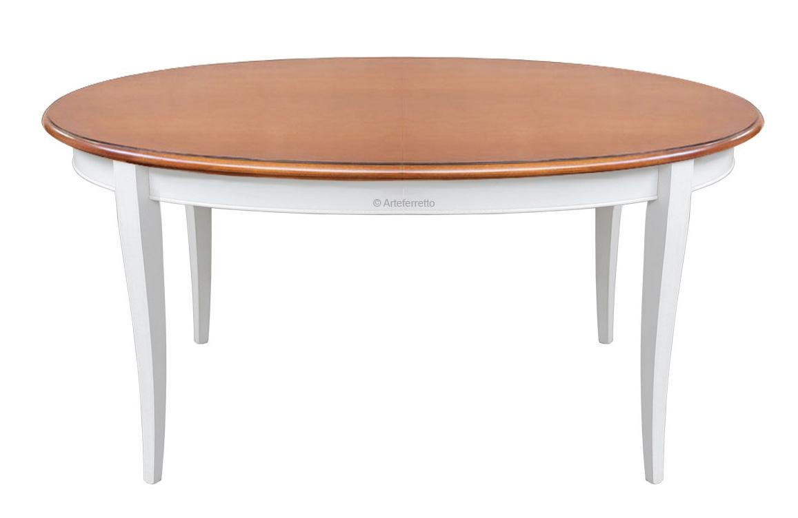 Table à manger ovale prolongeable finition bicolore
