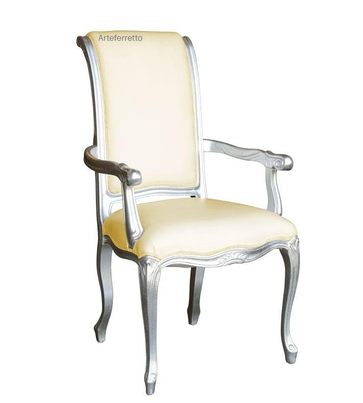 Chaise avec accoudoirs finition argent