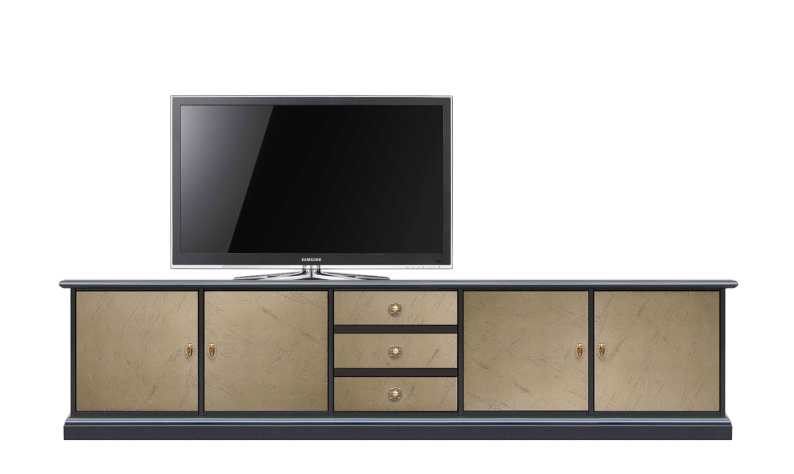 Meuble TV bas effet bronze Riace