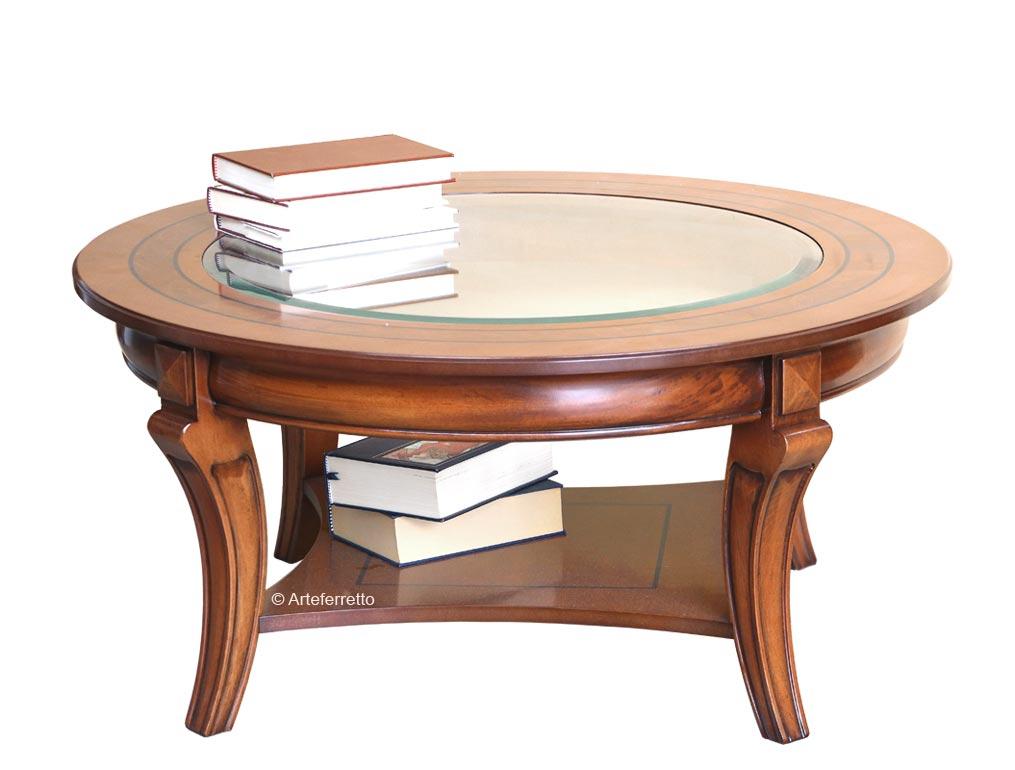 Table ronde de salon avec cristal