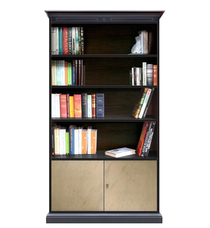 Bücherregal 190 cm hoch bronzen Türen