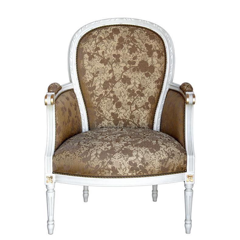 Klassischer Sessel ovale Rücklehne White Gold