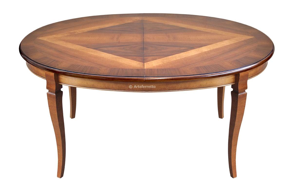 Table à manger ovale cm 160 prolongeable dessus marqueté