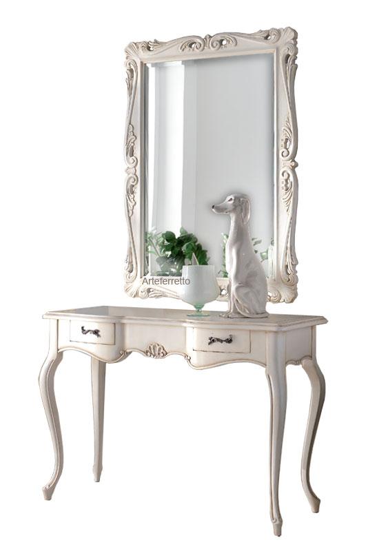 Klassischer Konsolentisch mit Spiegel White Shell