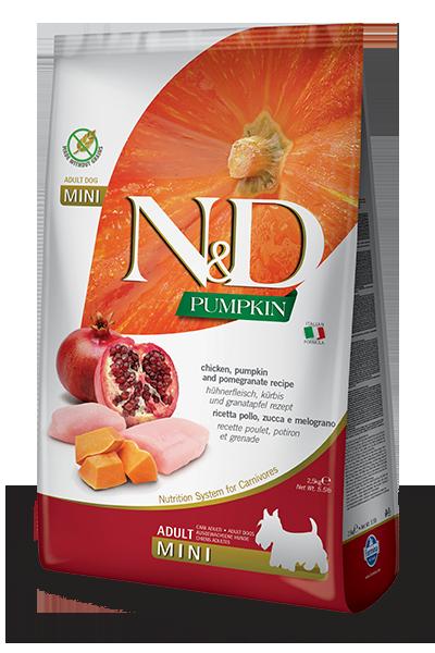 FARMINA N&D PUMPKIN ADULT MINI ZUCCA, POLLO E MELOGRANO GRAIN FREE