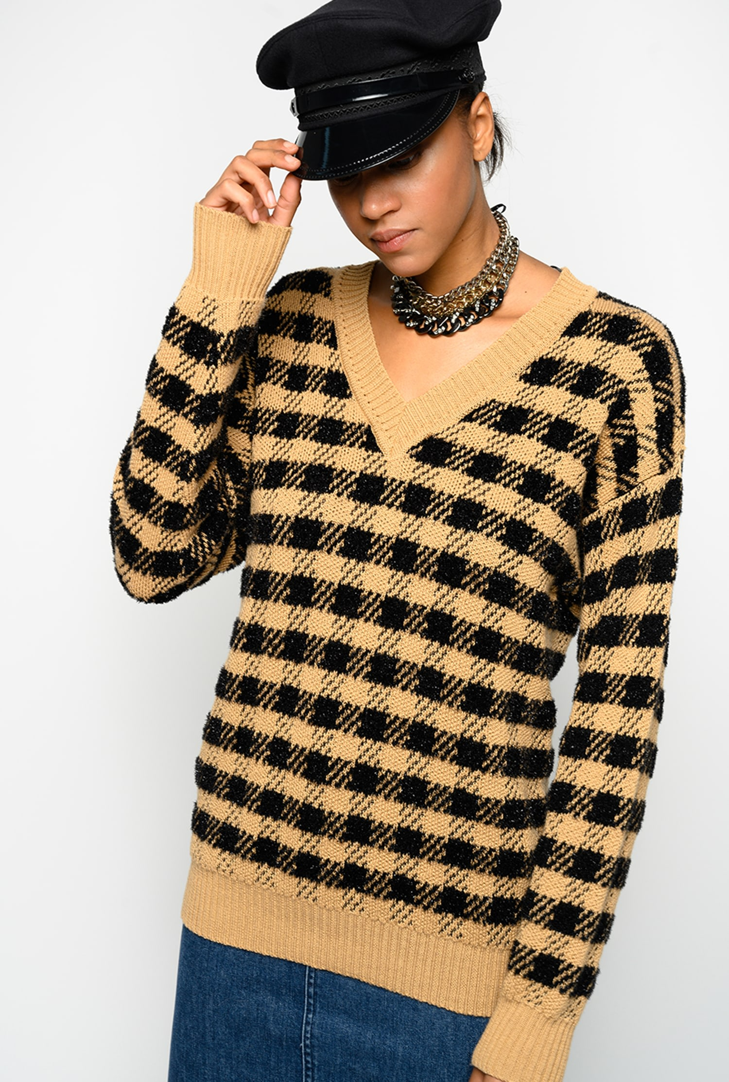 SHOPPING ON LINE PINKO PULLOVER JACQUARD CHECK BELIZE NEW COLLECTION WOMEN'S FALL WINTER 2020/2021