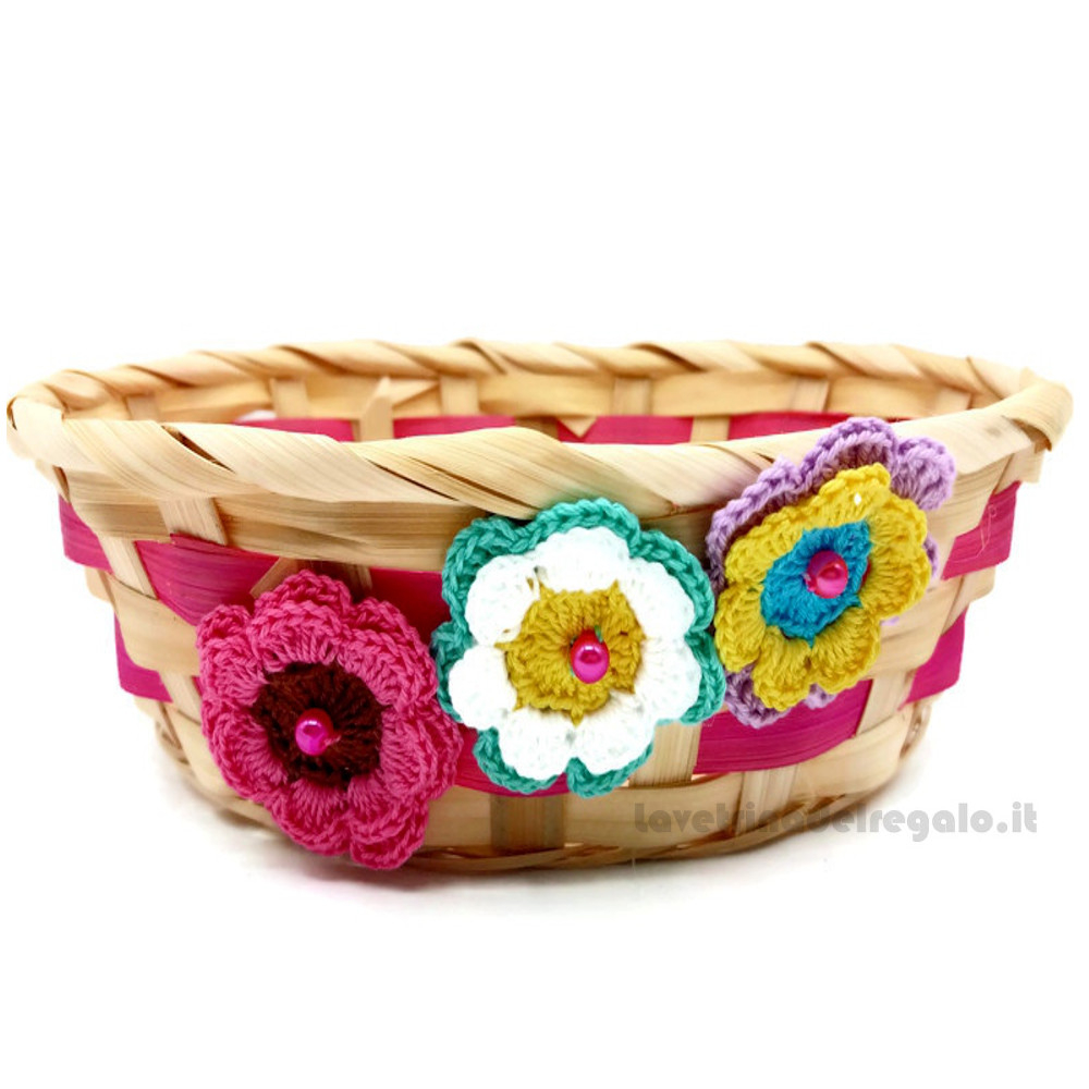 Cestino in bambù rosa con fiori ad uncinetto 6 cm H - Italy