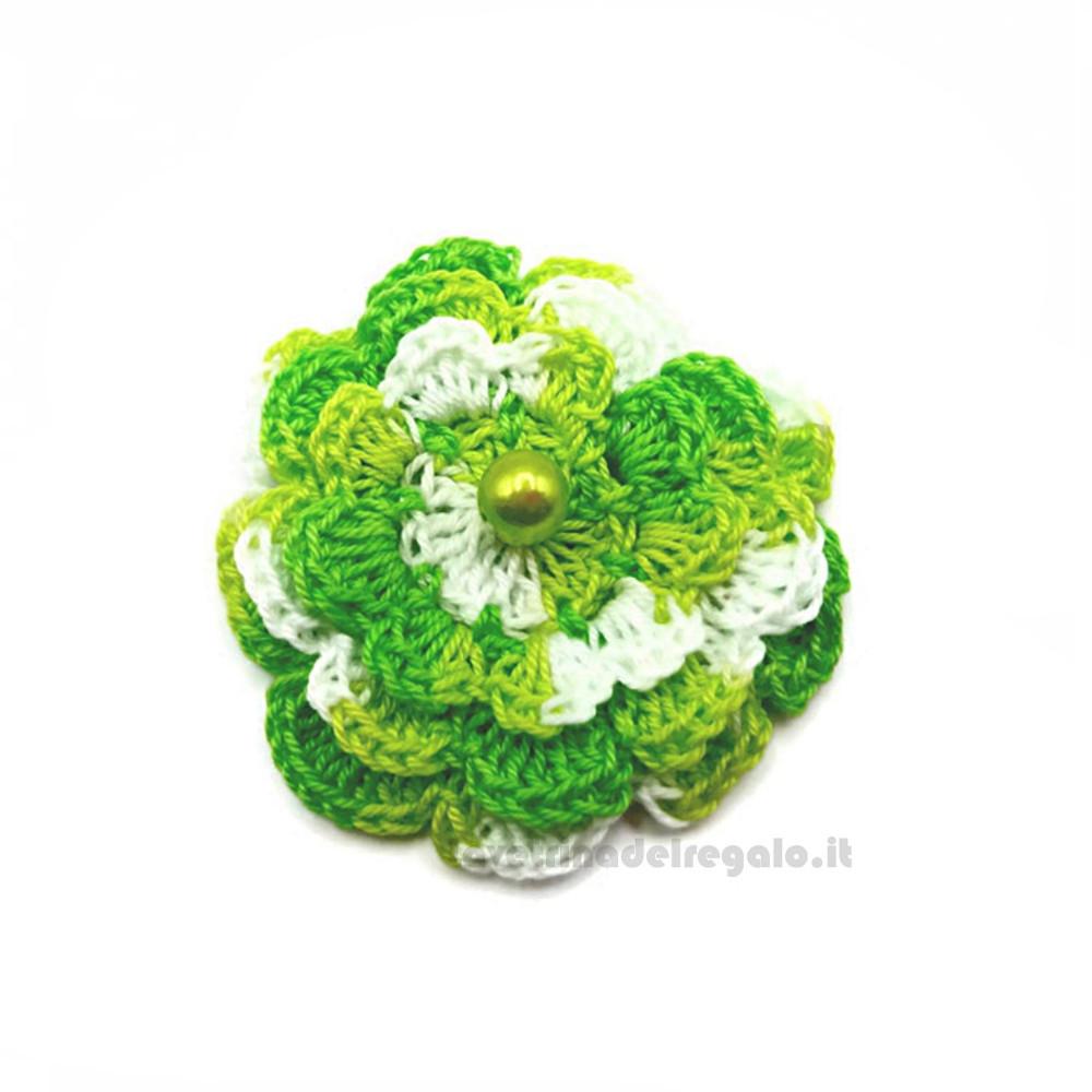 Set 5 pz - Fiore per applicazioni verde acido ad uncinetto 5,5 cm Handmade - Italy