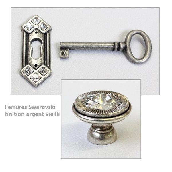 Ferrures Swarovski finition argent vieilli