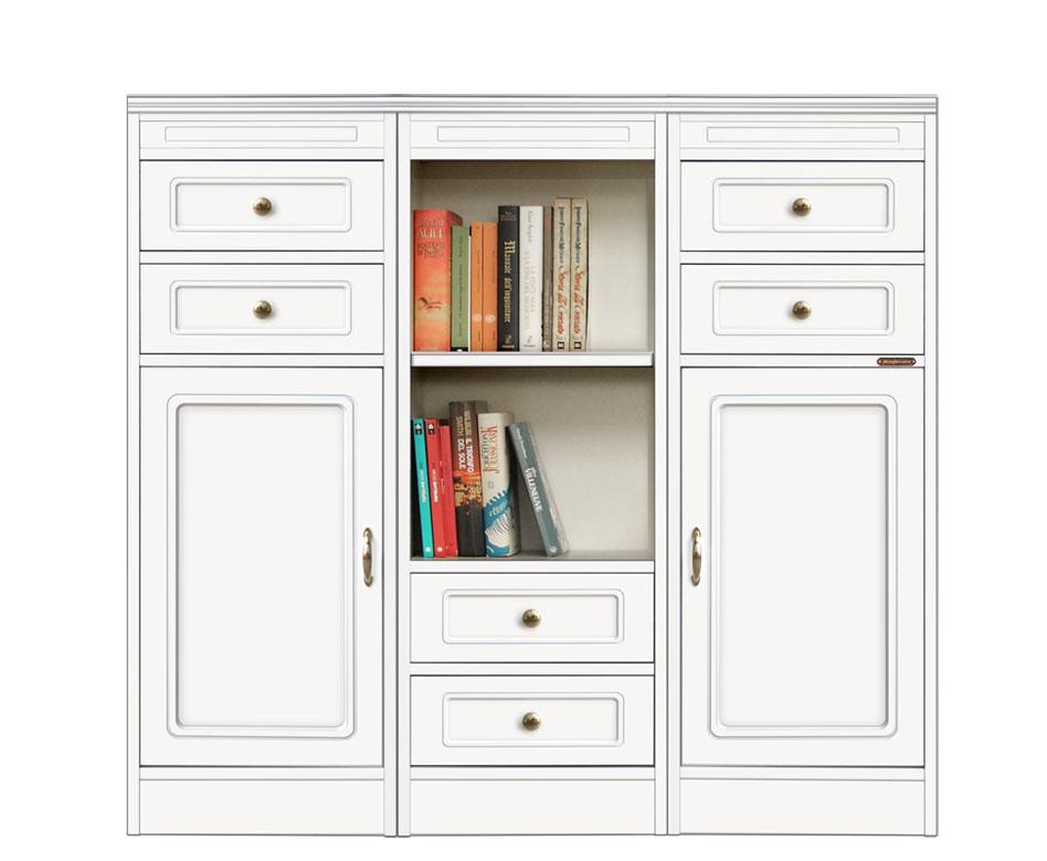 Meuble modulaire bas polyvalent, meuble bas de rangement, meuble buffet modulaire petite taille, meuble buffet bas blanc