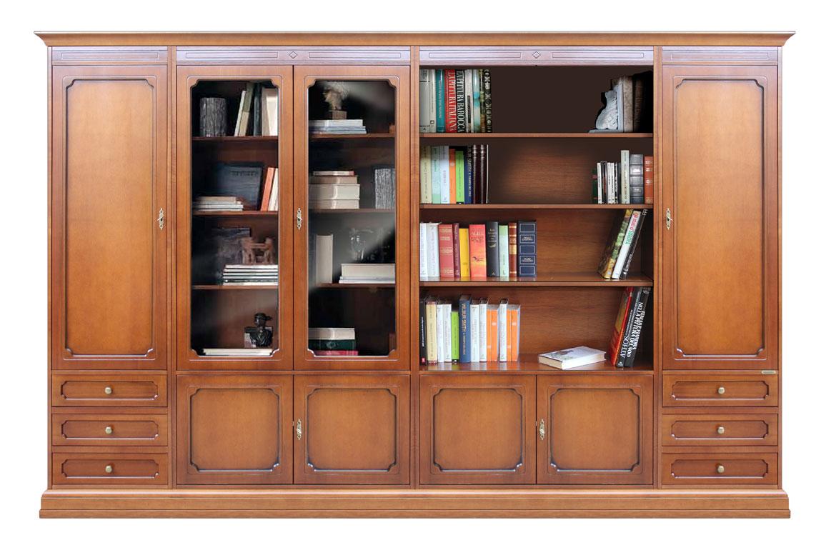Meuble mural modulaire 3 mètres, meuble bibliothèque grandes dimensions, bibliothèque modulaire en bois, meuble 3 metres