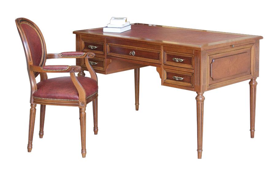 bureau Louis XVI, bureau de style, bureau avec cuir, bureau et fauteuil