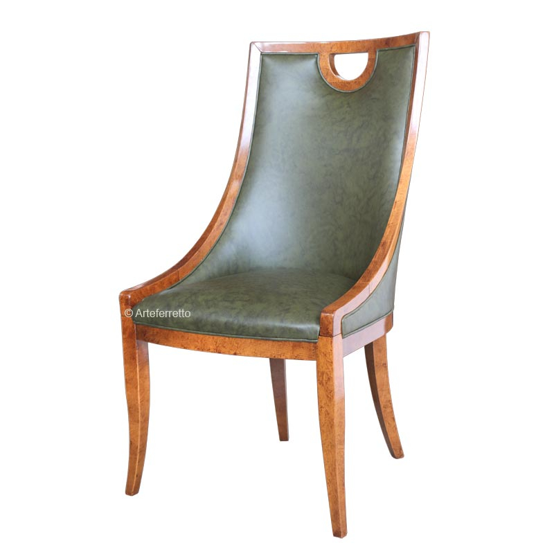 Chaise type crapaud vrai cuir, chaise dossier haut design, chaise design en bois, chaise crapaud vrai cuir