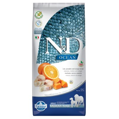 FARMINA N&D OCEAN ADULT MEDIUM E MAXI ZUCCA, MERLUZZO E ARANCIA GRAIN FREE