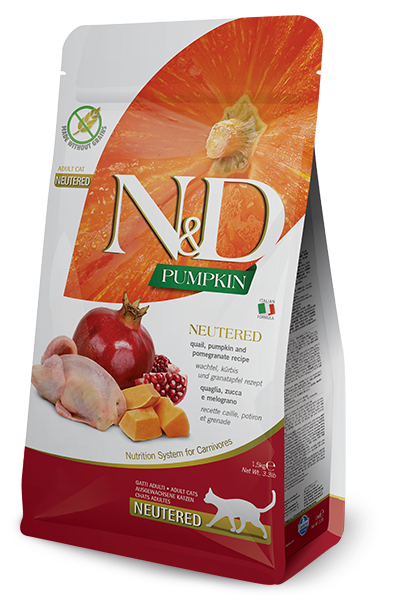 FARMINA N&D CAT PUMPKIN NEUTERED ZUCCA, QUAGLIA E MELOGRANO GRAIN FREE