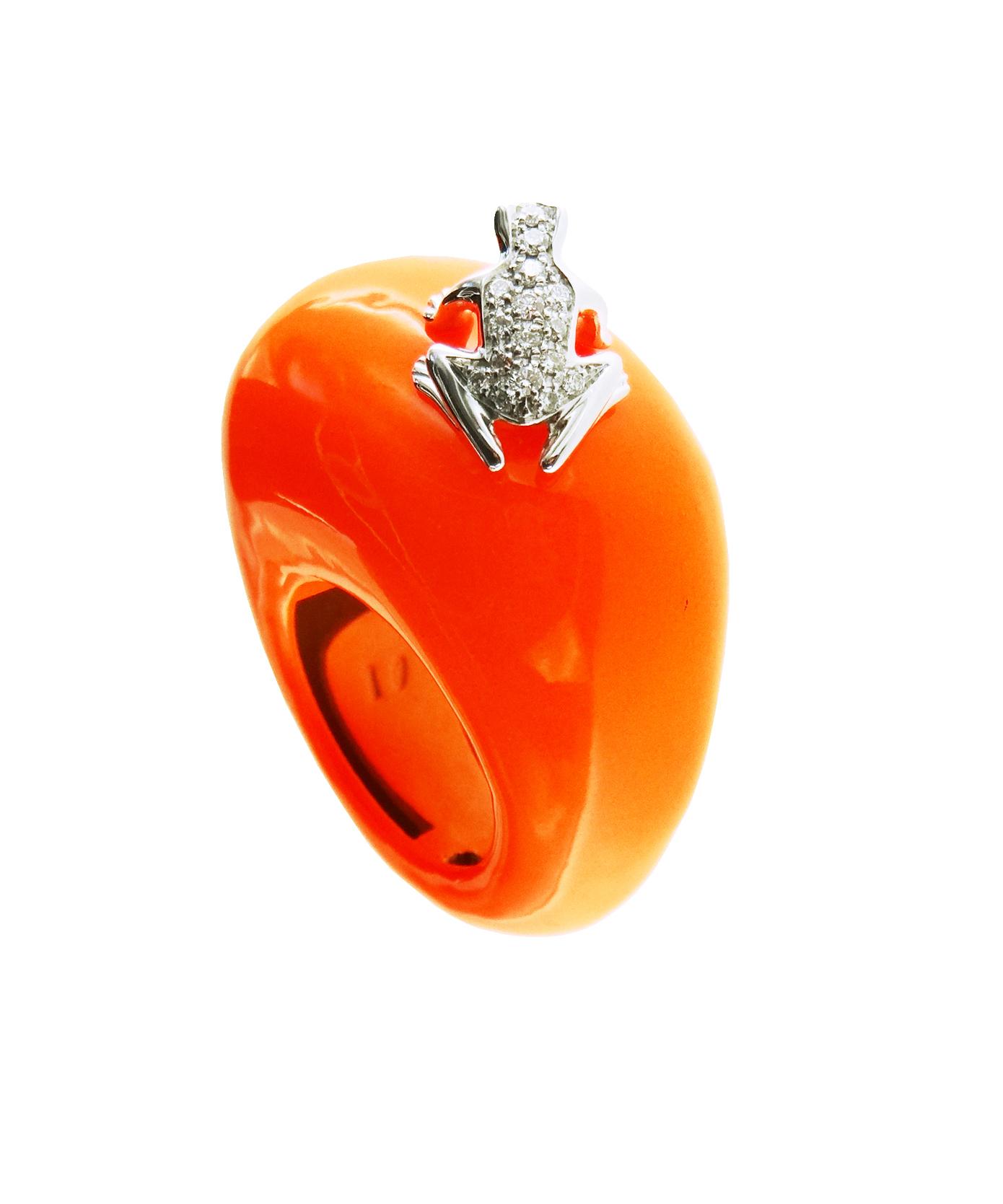 Anello base grande in cataforesi Fluo arancio, oro bianco 18k e diamanti