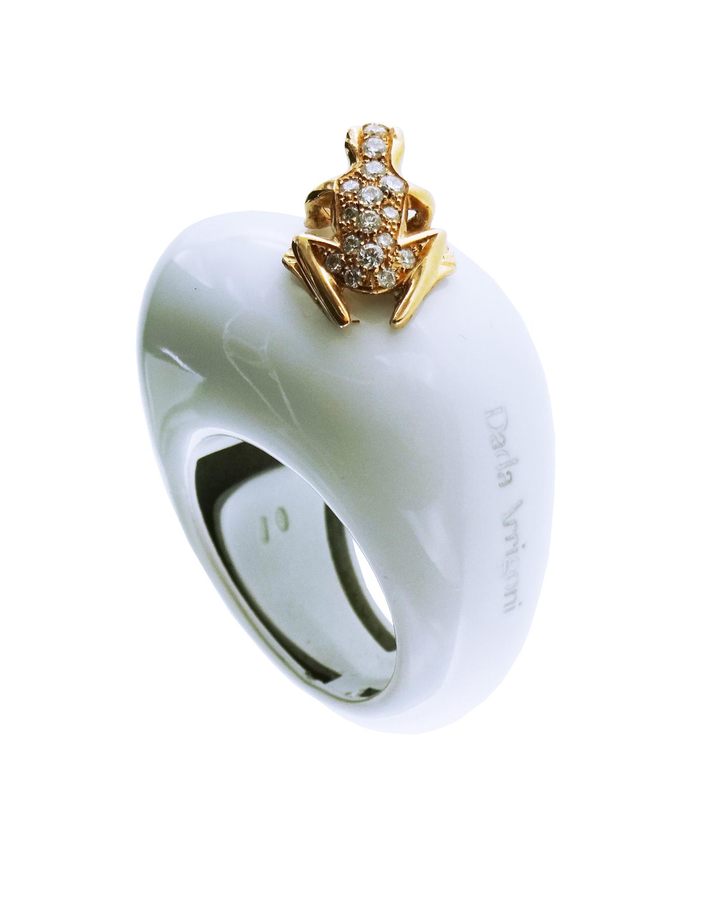 Anello in cataforesi  bianca, oro rosa e diamanti