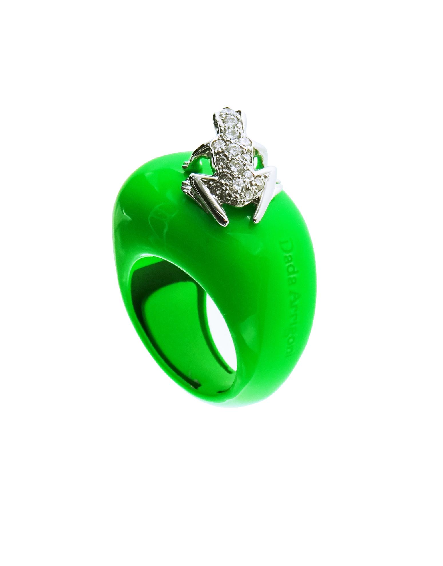 Anello base media in cataforesi Fluo verde, oro bianco 18k e diamanti