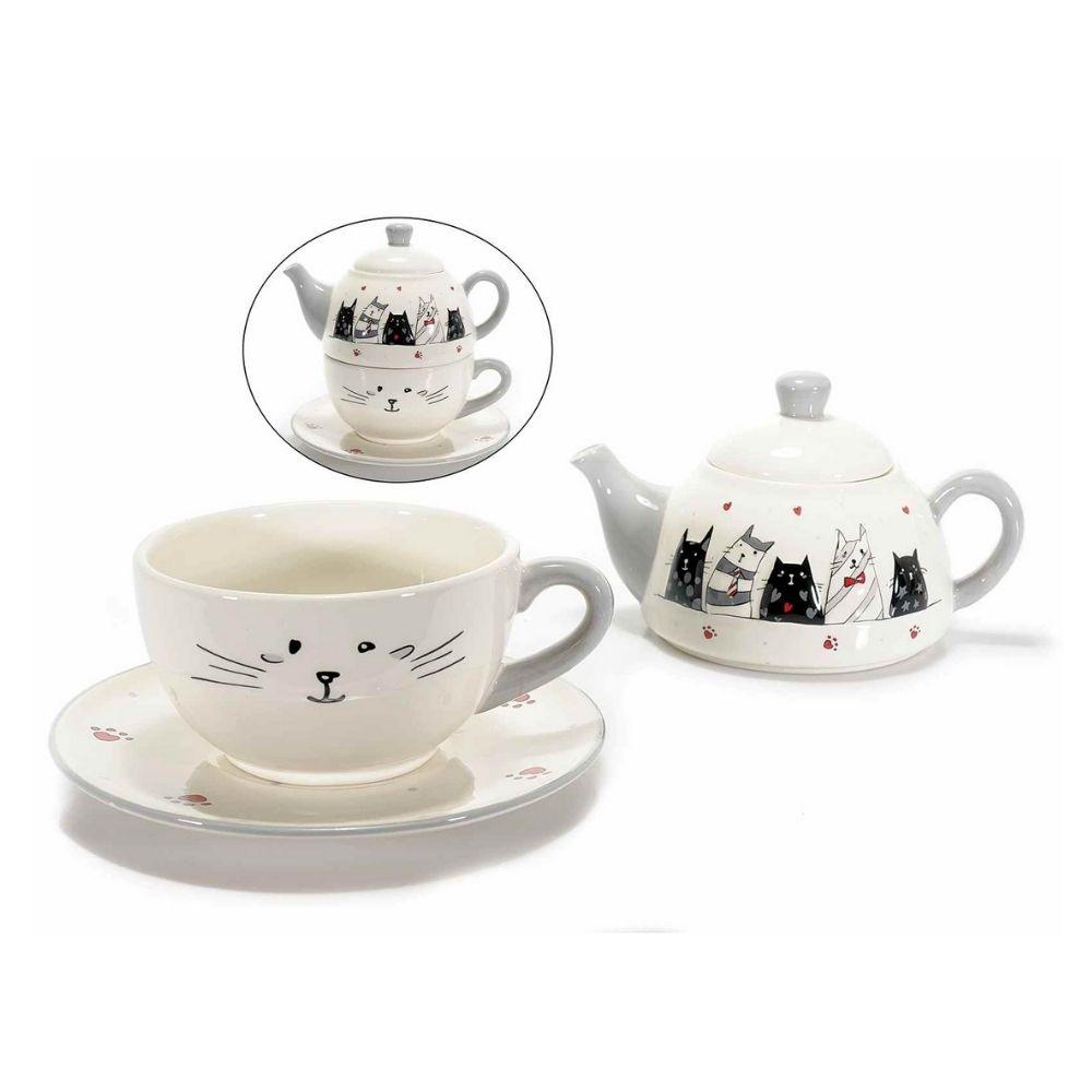 Teiera e tazza in ceramica decori gatti innamorati