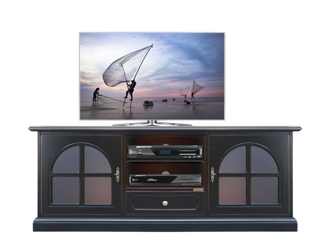 Fernsehmöbel in Schwarz 2 Glastüren