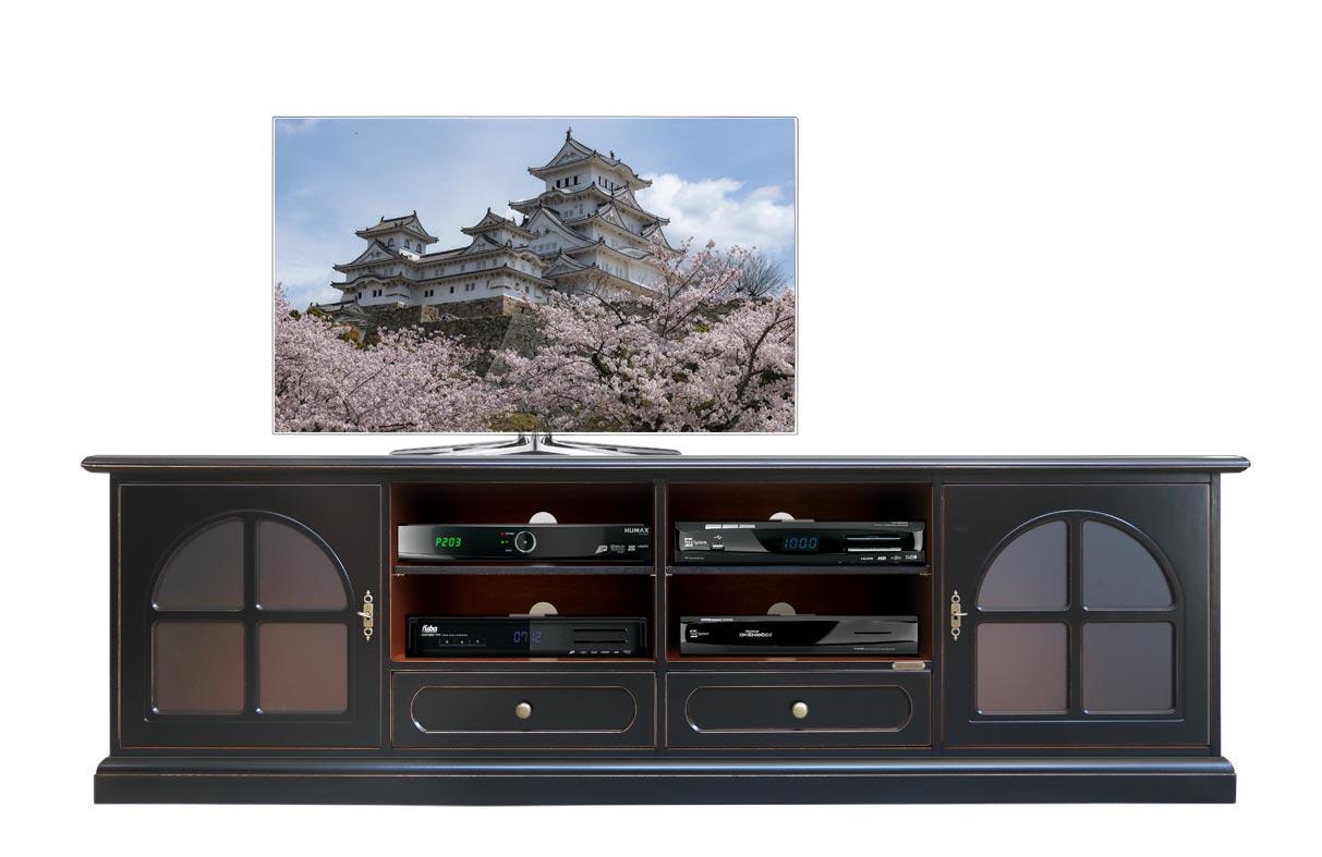 TV-Lowboard in Farbe Schwarz  mit Glastüren