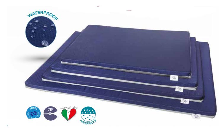 MARTE Materassino blu e grigio per cani  in tessuto sfoderabile Leopet varie misure