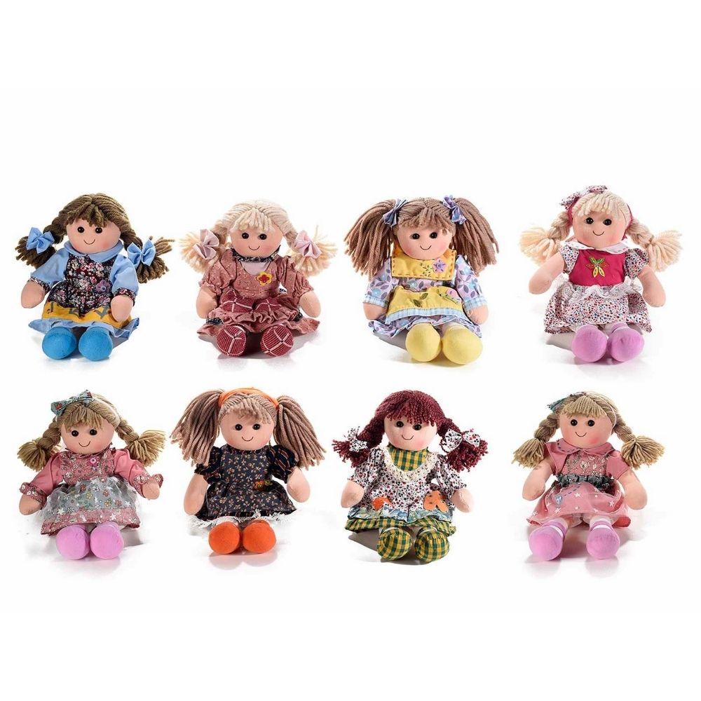 Set 8 bambole medie 32 cm in stoffa imbottita