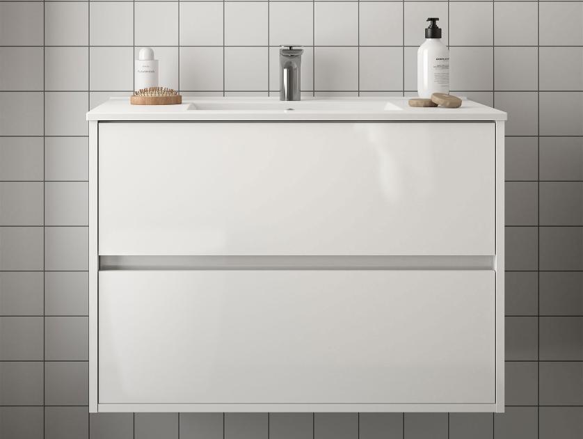 Mobile lavabo da 81cm con 2 cassetti bianco lucido mod. Nori