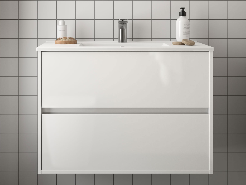 Mobile lavabo da 91cm con 2 cassetti bianco lucido mod. Nori