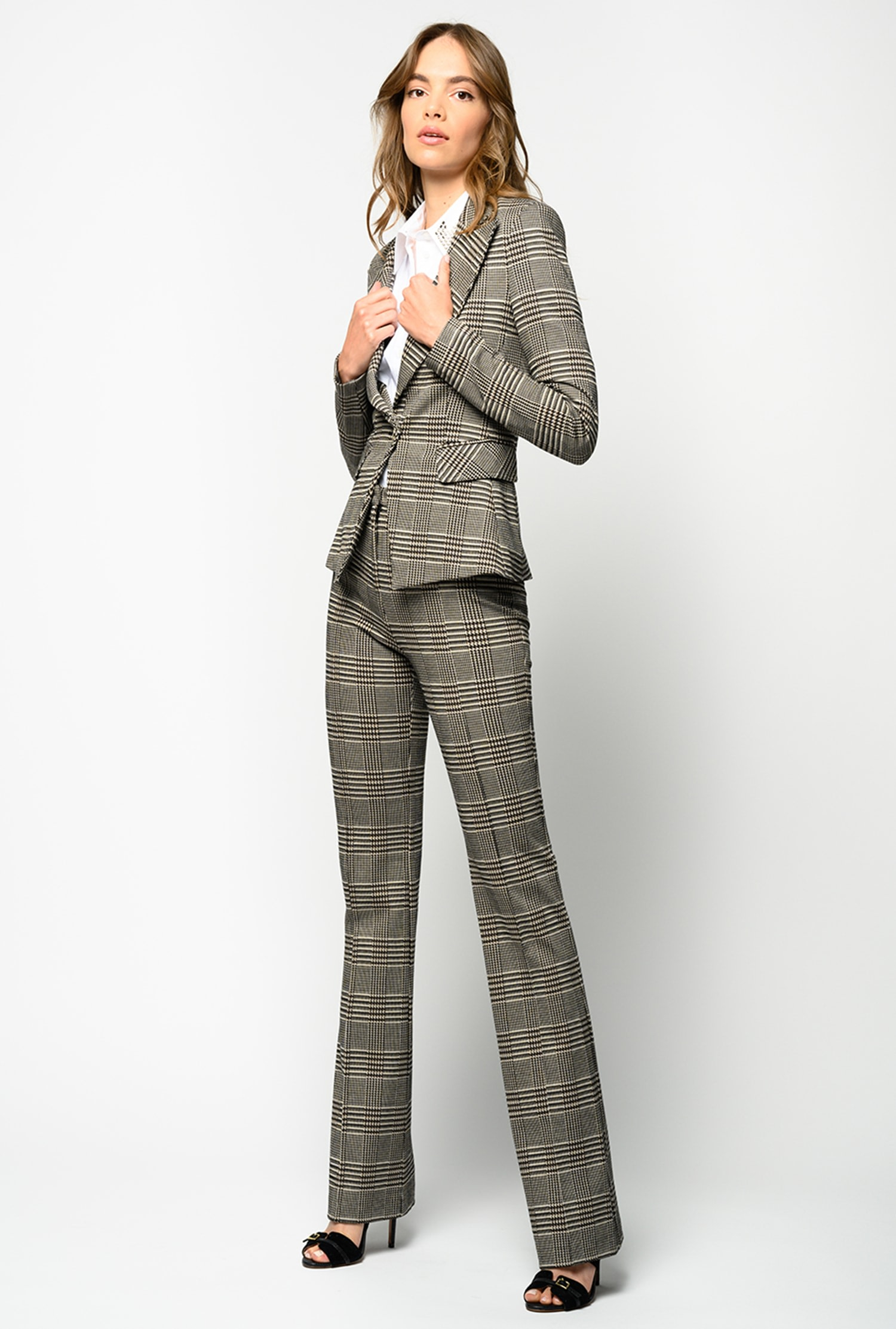 Pantaloni flare-fit disegno galles Pinko