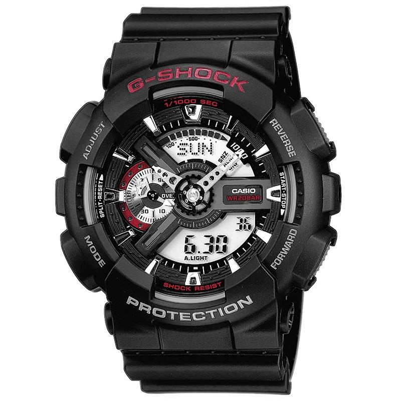 Casio G-Shock multifunzione, nero e rosso