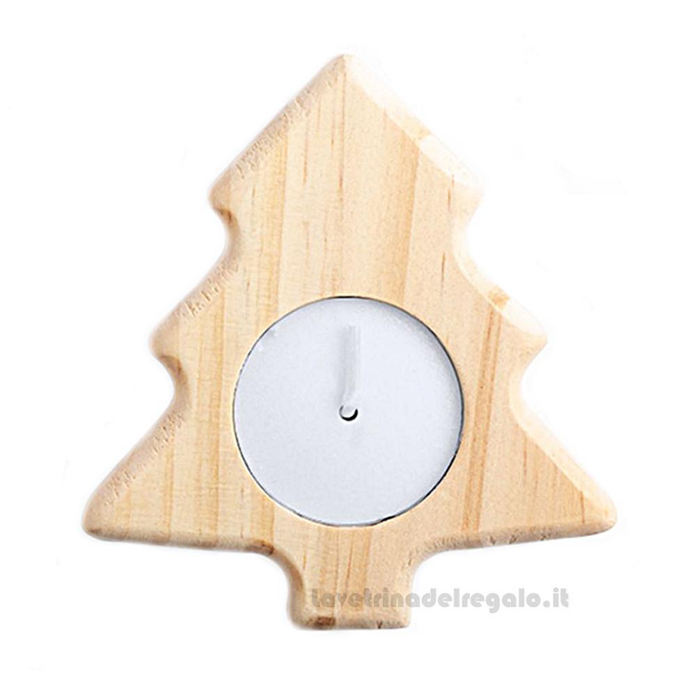 6 pz - Candela nataliza con Alberello in legno 8.5x9.5 cm - Natale