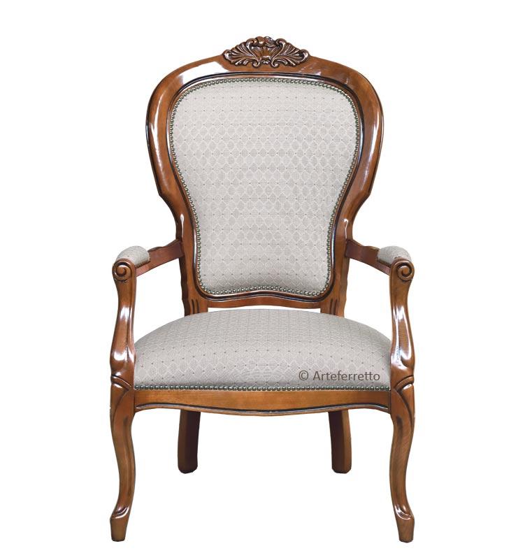 Klassischer Sessel mit Schnitzarbeit Louis Philippe