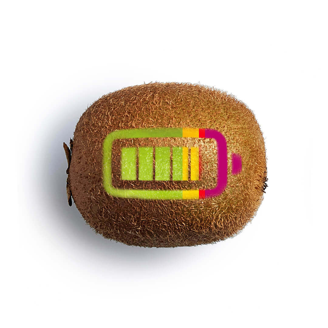 Kiwi frutto con pila disegnata