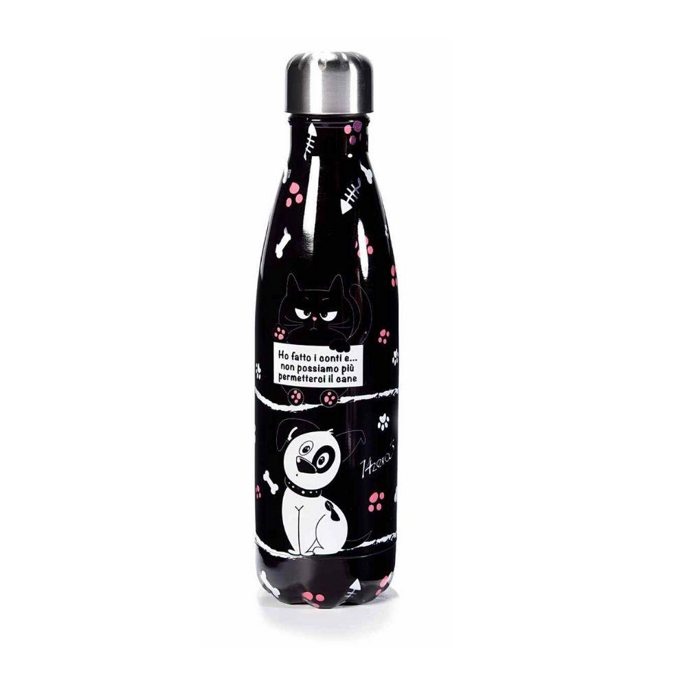 Bottiglia termica 500 ml acciaio design cane e gatto