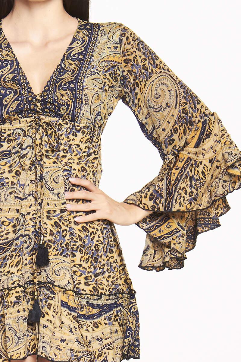 Vestito corto manica lunga asimmetrica | Abbigliamento donna online