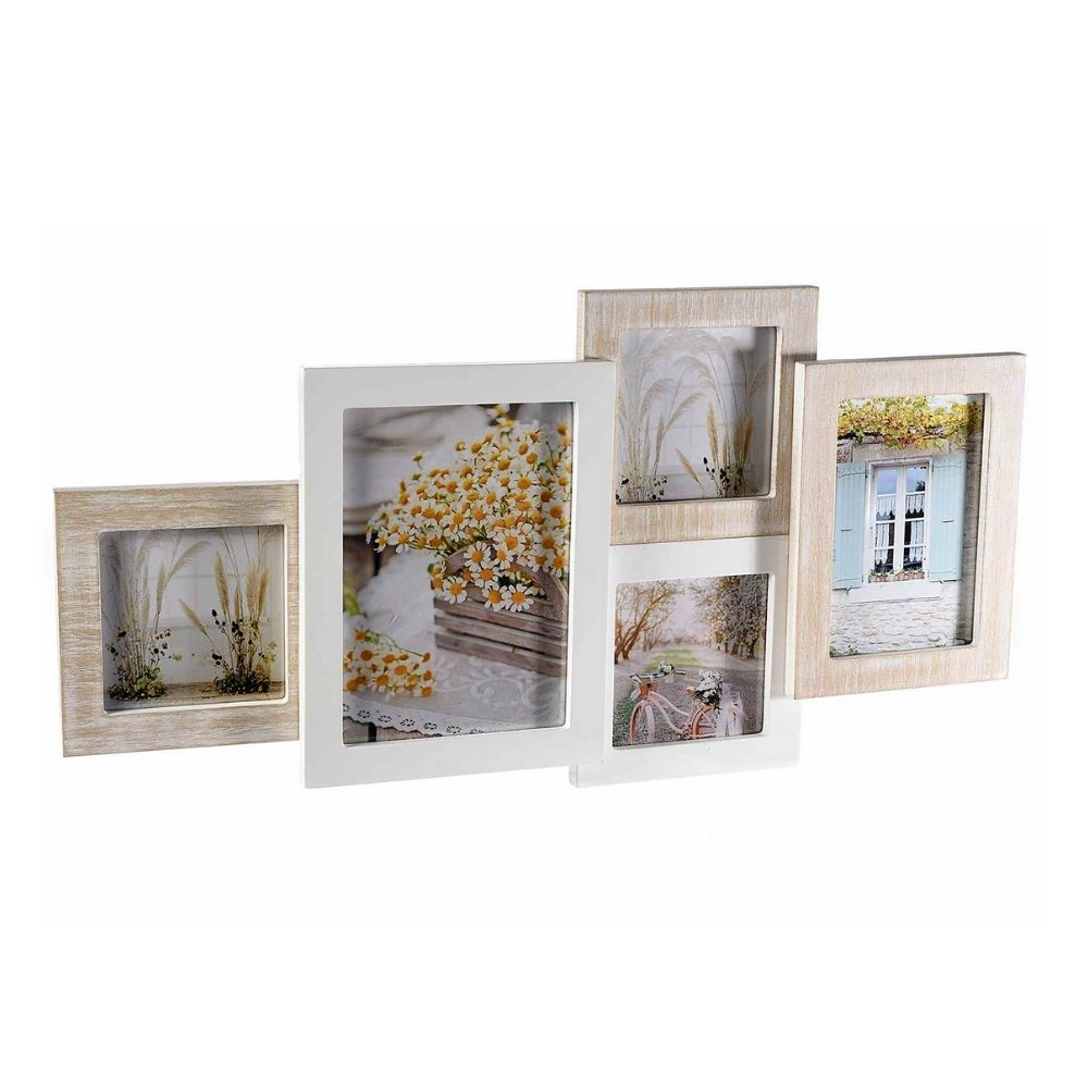 Quadro portafotografie x 5 foto da appendere in legno