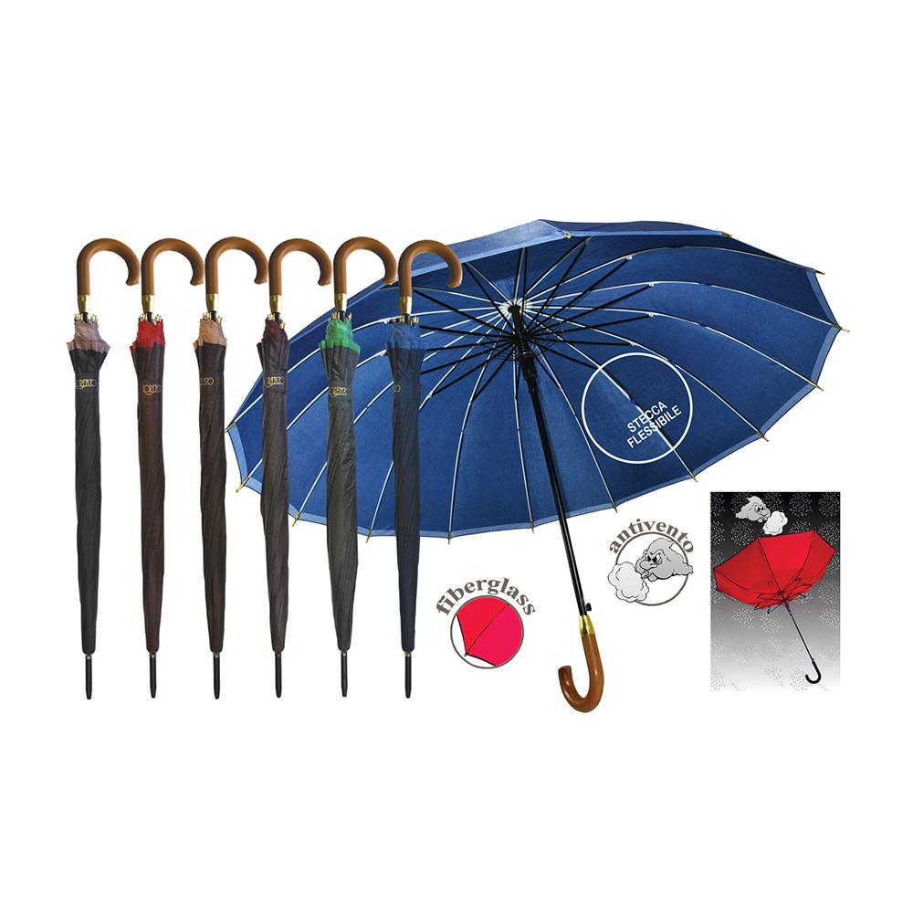 Ombrello Automatico con 16 Stecche In Fibra di Vetro Tinta Unita