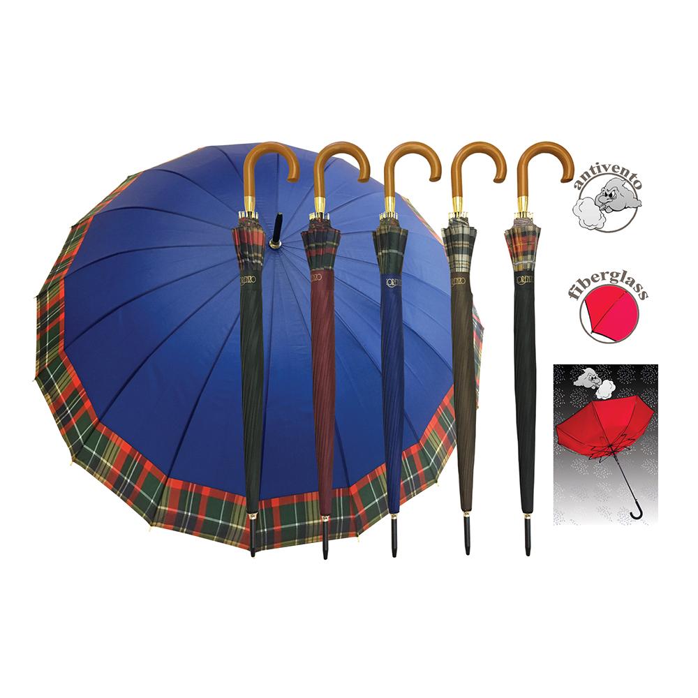 Ombrello Automatico con 16 Stecche In Fibra di Vetro con Bordino Scozzese