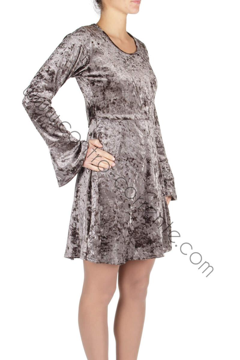 Vestito in velluto grigio | Abbigliamento in offerta online