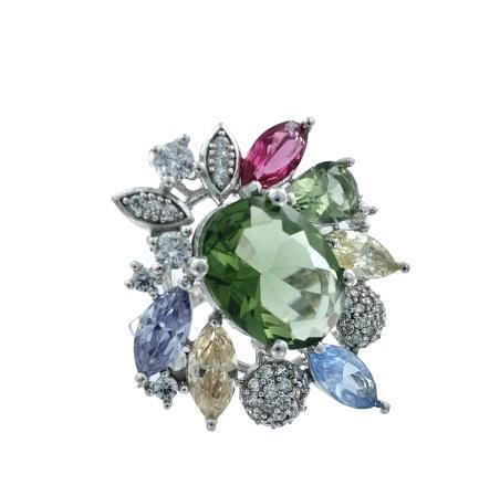 Anello in argento 925 rodiato Roberto Greppi a forma di fiore con grosso zircone verde centrale