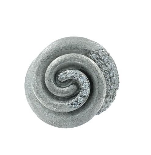Anello Ottaviani in argento a spirale in argento satinato e diamantato e pavè di zirconi