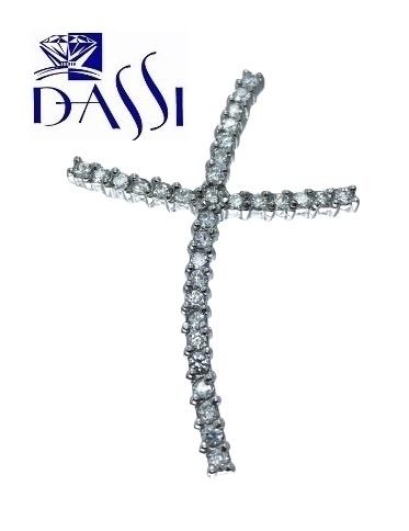 Ciondolo a croce in argento 925 rodiato con zirconi incassati a grif.