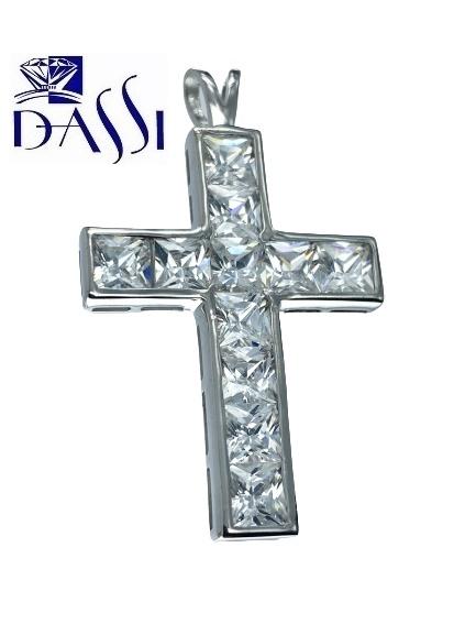 Ciondolo a croce in argento 925 rodiato con zirconi quadrati incassati a binario.