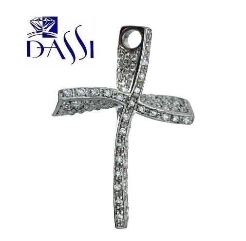 Ciondolo a croce stilizzata in argento 925 rodiato con pavè di zirconi incassati a grif.